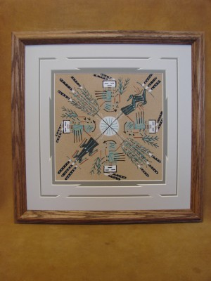 Native American Indian Authentic Navajo Sandpainting by Deborah Foster