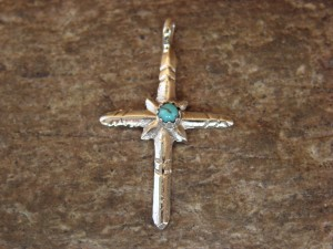 Small Zuni Jewelry Sterling Silver Turquoise Cross Pendant by Sylvia Chee
