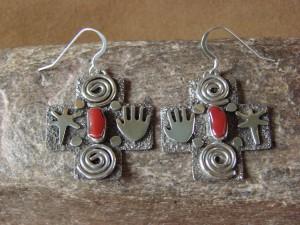 Native American Sterling Silver Petroglyph Coral Cross Earrings by Alex Sanchez!
