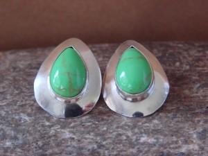 Native American Sterling Silver Tear Drop Gaspeite  Post Earrings by Russel Wilson Navajo