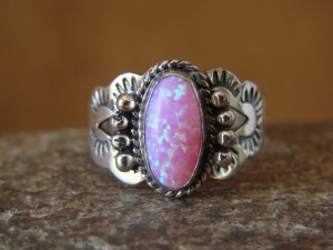 Native American Indian Jewelry Sterling Silver Opal Ring, Size 9 1/2 Mariano