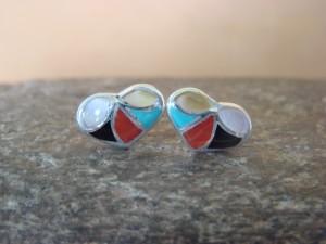 Zuni Indian Jewelry Sterling Silver Multistone Inlay Heart Post Earrings!