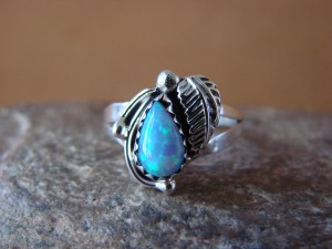 Navajo Indian Jewelry Sterling Silver Opal Ring - L. Shorty -  Size 9 1/2