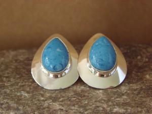 Native American Sterling Silver Tear Drop Denim Lapis Post Earrings by Russel Wilson Navajo