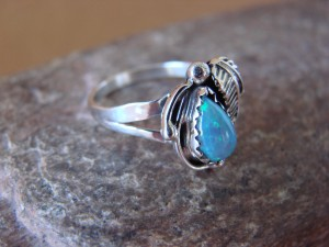 Navajo Indian Jewelry Sterling Silver Opal Ring - L. Shorty -  Size 7