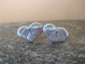 Zuni Indian Jewelry Sterling Silver Mother of Pearl Inlay Heart Post Earrings!