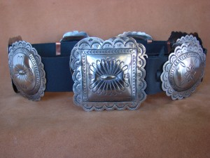 Native American Jewelry Hand Stamped Nickel Silver Concho Belt Carson Blackgoat BLT091
