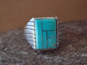 Native American Jewelry Sterling Silver Turquoise Inlay Men's Ring! Size 11 1/2
