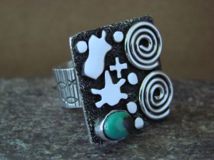 Native American Sterling Silver Turquoise Stamped Ring by Alex Sanchez Size 7