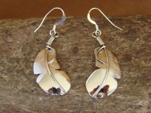 Navajo Indian Jewelry Sterling Silver Feather Earrings! Hand Stamped!