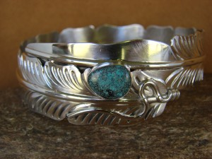 Native American Jewelry Sterling Silver Feather & Turquoise Bracelet Ben Begay
