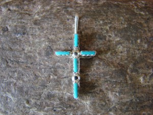 Native American Jewelry Sterling Silver Turquoise Needle Point Cross Pendant! Zuni