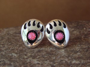 Navajo Indian Jewelry Sterling Silver Pink Opal Bear Paw Post Earrings!