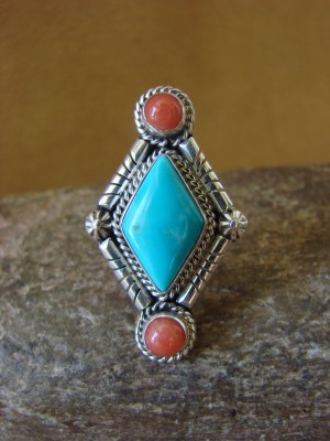 Native American Jewelry Sterling Silver Turquoise and Coral Ring! Size 7 1/2 Running Bear
