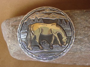 Native American Hand Stamped Sterling Silver Gold Horse Belt Buckle