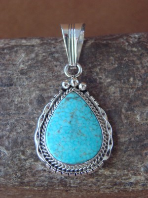 Native American Jewelry Sterling Silver Turquoise Pendant - S. Yellowhair