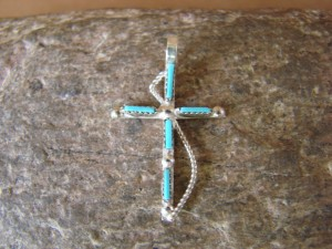 Native American Jewelry Sterling Silver Turquoise Cross Pendant! Zuni