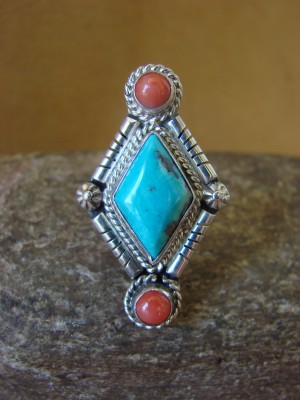 Native American Jewelry Sterling Silver Turquoise and Coral Ring! Size 6 1/2 Running Bear