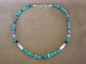 Navajo Indian Jewelry Hand Strung Turquoise Necklace T&R Singer