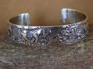 Native American Jewelry Sterling Silver Storyteller Horse Bracelet - Becenti