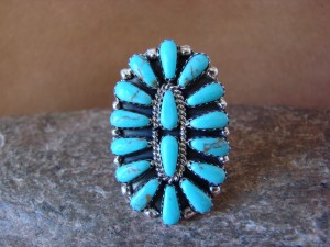 Native American Jewelry Sterling Silver Turquoise Cluster Ring, Size 8