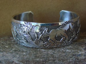 Native American Jewelry Sterling Silver Storyteller Horse Bracelet - Becenti BB0184