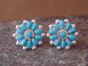 Zuni Indian Jewelry Sterling Silver Flower Post Earrings by Bevis Lalio