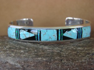 Navajo Indian Jewelry Sterling Silver Turquoise Opal Inlay Bracelet Navajo Kenneth Bitsie