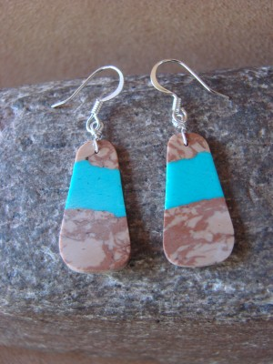Navajo Indian Sterling Silver Turquoise Slab Earrings!
