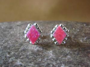 Native American Jewelry Sterling Silver Pink Opal Post Earrings! Zuni Indian