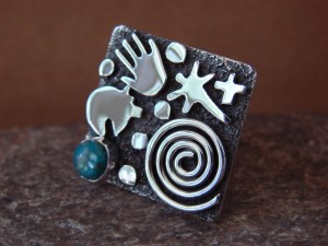 Native American Sterling Silver Turquoise Stamped Ring by Alex Sanchez Size 6