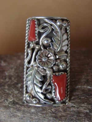 Navajo Jewelry Sterling Silver Coral Ring by Spencer! Size 10