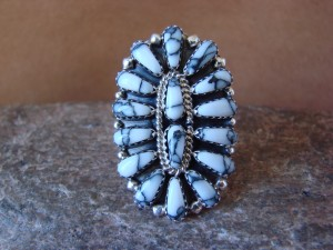 Native American Jewelry Sterling Silver Howlite Cluster Ring, Size 7 1/2 - RW
