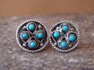 Zuni Indian Jewelry Sterling Silver Turquoise Post Earrings by Waylon Johnson
