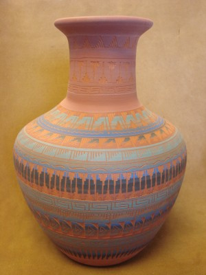 Native American Indian Hand Etched Pot by Mirelle Gilmore! Pottery Vase