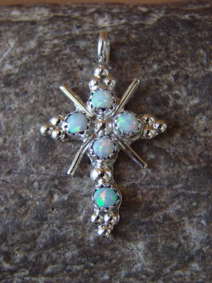 Zuni Indian Jewelry Sterling Silver Opal Cross Pendant by Margie Boone