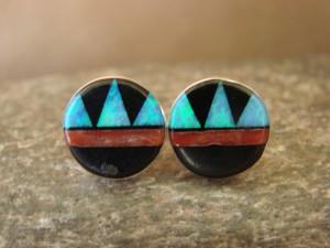 Zuni Indian Jewelry Sterling Silver Blue Opal Multistone Inlay Post Earrings! T. Martinez