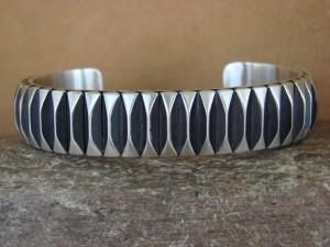 Navajo Indian Jewelry Handmade Sterling Silver Bracelet by Leander Tahe!