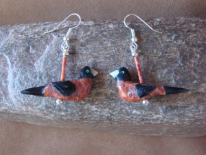 Hand Carved Robin Fetish Earrings by Matt Mitchell!