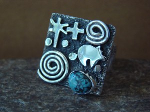 Native American Sterling Silver Turquoise Stamped Ring by Alex Sanchez Size 10 1/2