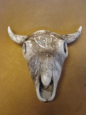 Navajo Indian Horsehair Hand Etched Steer Skull by Edsitiy! Native American Pottery