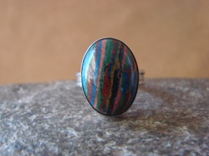 Navajo Indian Jewelry Handmade Sterling Silver & Calsilica Ring! Size 6 1/2