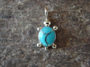 Zuni Indian Jewelry Sterling Silver Turquoise Turtle Pendant by Verona Waikaniwa