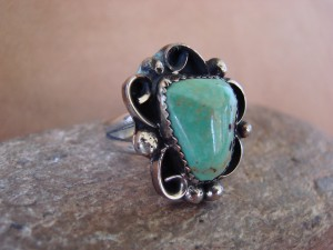 Native American Nickle Silver Turquoise Ring Size 10, by Albert Cleveland