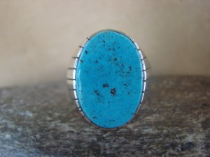 Native American Jewelry Sterling Silver Turquoise Inlay Men's Ring! Size 12 1/2 RJ