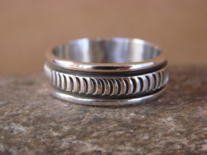 Native American Jewelry Sterling Silver Ring Band, Size 11.5 by Bruce Morgan!