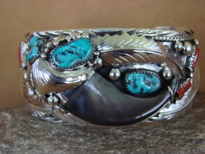 Navajo Indian Turquoise Coral Sterling Silver Bear Claw Bracelet - Elaine Sam HE313