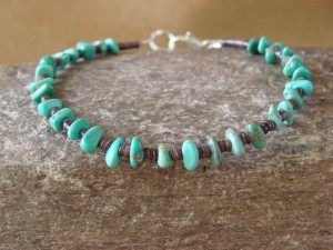 Native American Jewelry Handmade Heishi Turquoise Bracelet by Irene Lovato