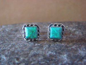 Zuni Indian Jewelry Sterling Silver Square Green Opal Post Earrings!