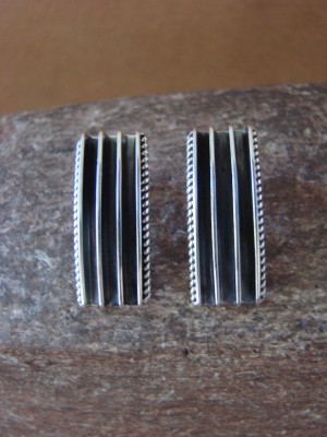 Native American Indian Jewelry Sterling Silver Ribbed Earrings - Yazzie